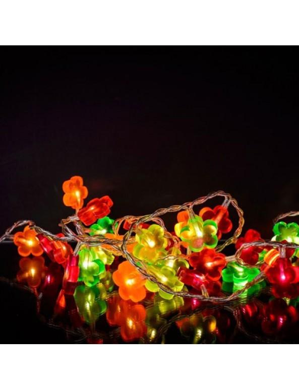 שרשרת אורות- פרחים צבעוניים