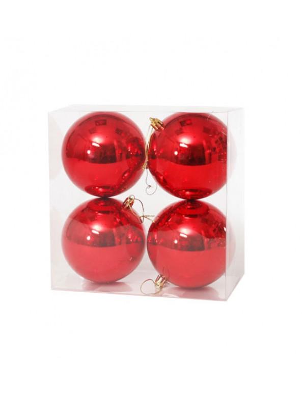 רביעיית כדורי קישוט אדומים