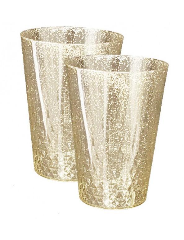 10 כוסות קשיחות שקוף זהב נוצץ