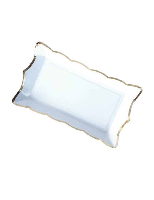 רביעיית מגשי נייר- לבן