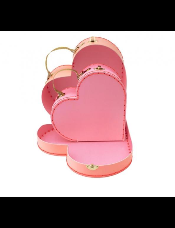 זוג מזוודות בצורת לב - meri meri