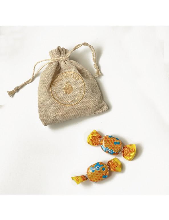 שקית בד יוטה אישית במילוי סוכריות דבש