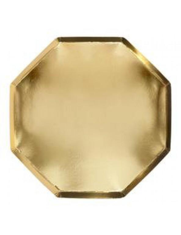 צלחות זהב קטנות הטזות זהב - Meri Meri, מרי מרי, MERI MERI, צלחת, צלחת זהב, צלחות, צלחות זהב, צלחות מתומנות, מסיבה, מסיבת זהב, זהב