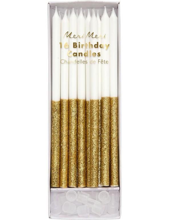 קישוטים, נרות לעוגה, נרות יום הולדת, נרות לבנים, קישוטי עוגה, נרות בעיטור זהב - Meri Meri, Meri Meri