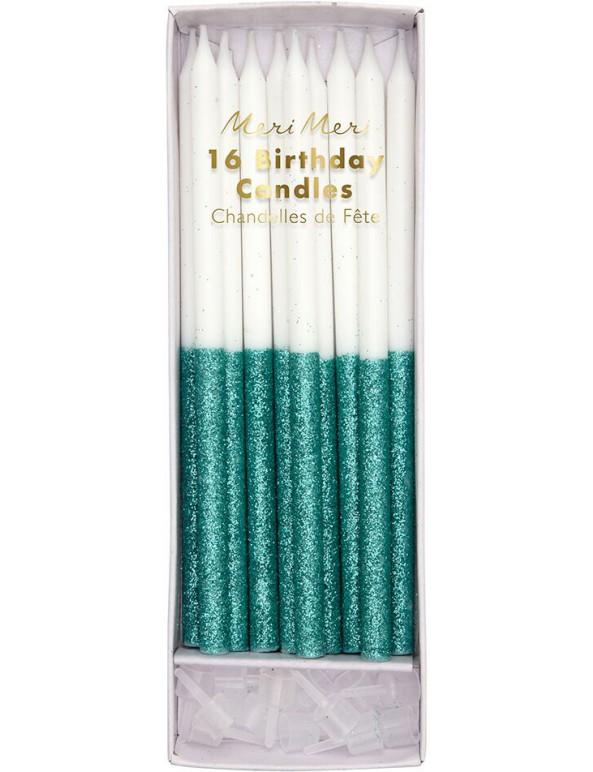 קישוטים, נרות לעוגה, נרות יום הולדת, נרות לבנים, קישוטי עוגה, נרות בעיטור ירוק - Meri Meri, Meri Meri, נרות יום הולדת, נרות לעוגה, נר לעוגת יום הולדת, נרות לעוגת יום הולדת,