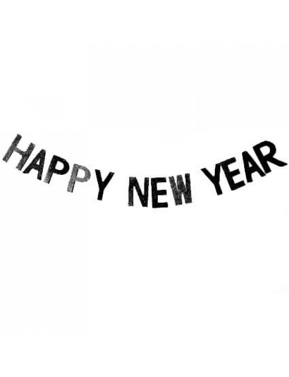 סילבסטר, מסיבת סילבסטר, אביזרים למסיבת סילבסטר, 2020, שרשרת, שרשרת אותיות שחורות בכיתוב Happy New Year.