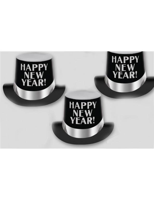 סילבסטר, 2020' מגבעת קרטון שחורה בעיטור כסף Happy New Year, מסיבת סילךבסטר,אביזרים לסילבסטר