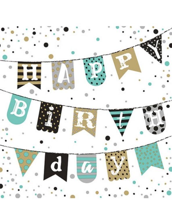 מפיות דגלוני happy birthday