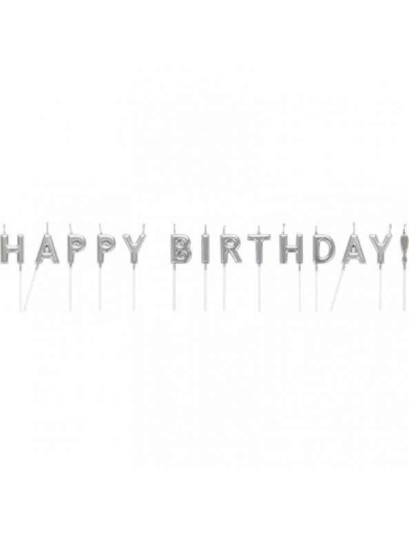 קישוטים, נרות לעוגה, נרות יום הולדת, נרות Happy Birthday, קישוטי עוגה, נרות בעיטור כסף, כסף, נרות כסף, נר כסף