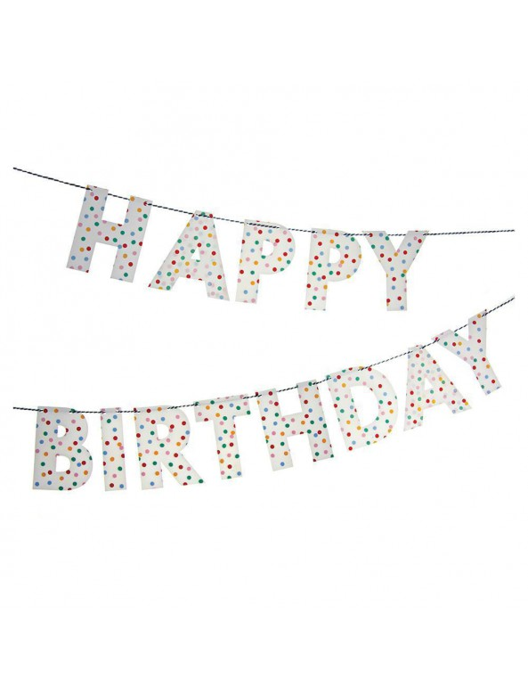 שרשרת Happy Birthday נקודות - Meri Meri, Meri Meri, ,שרשרת, קישוט ליום הולדת, קישוט למסיבת יום הולדת, שרשרת לתלייה, Happy Birthday, קישוטים למסיבה, קישוטים ליום הולדת