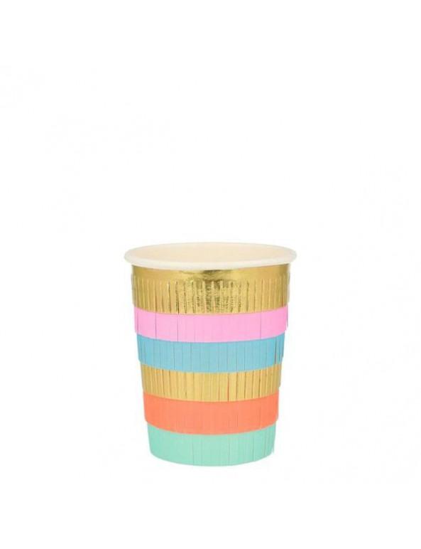 כוסות נייר מקושטות פרנזים צבעוניים - meri meri