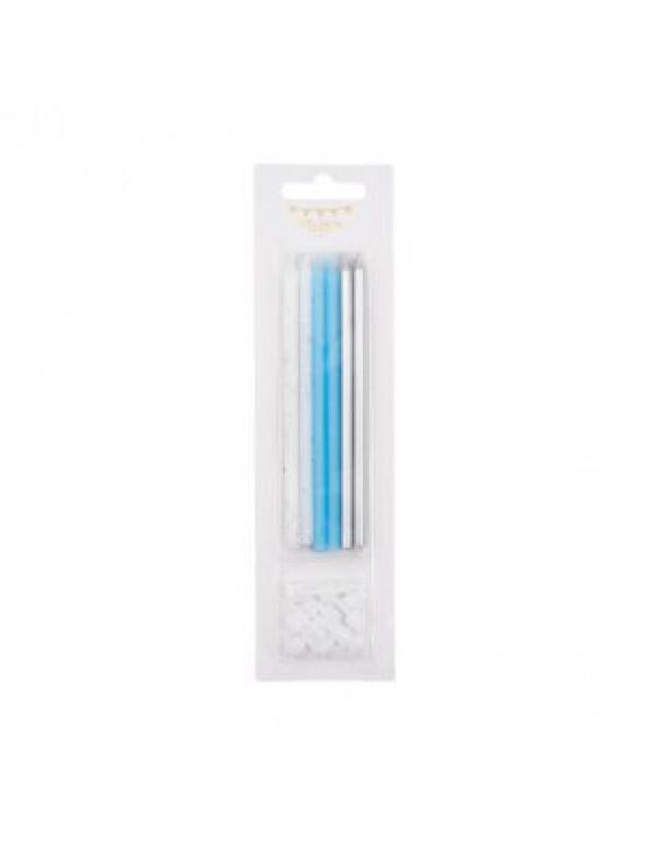 נרות נוצצים בשלושה צבעים- כחול, תכלת, לבן