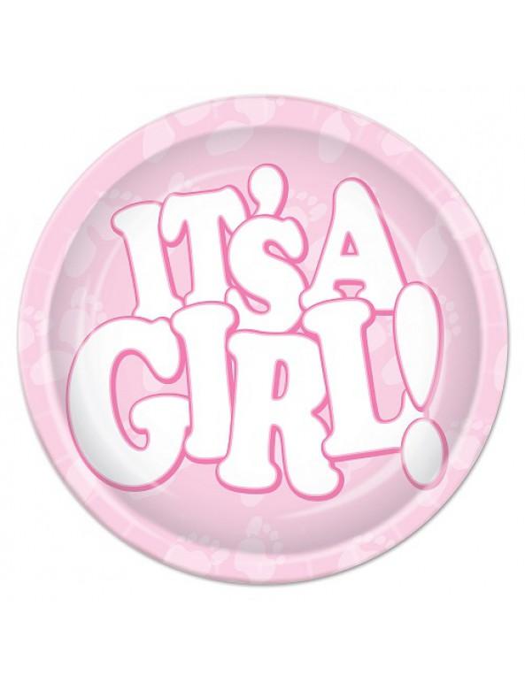 שרשרת להולדת בת, בייבי שאוור, baby shower, לידת בת, תינוקת, מסיבת בריתה, בריתה, קישוטים לבריתה, קשיוט לבריתה, צלחות, צלחות נייר, ורוד, צלחות להולדת בת - It's a girl!
