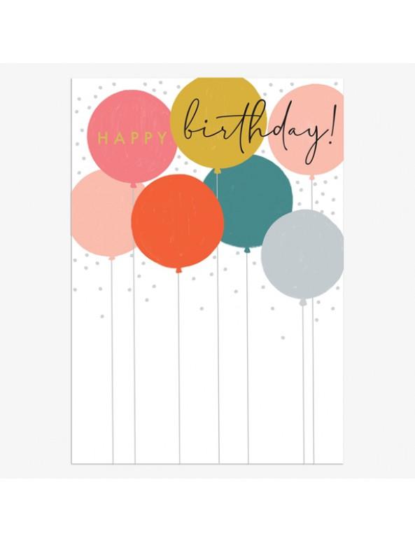 כרטיס ברכה יום הולדת - בלונים צבעוניים