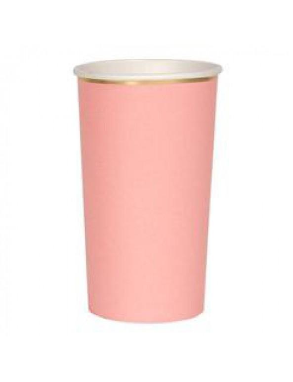 כוסות ורודות גבוהות עם עיטור זהב - Meri Meri