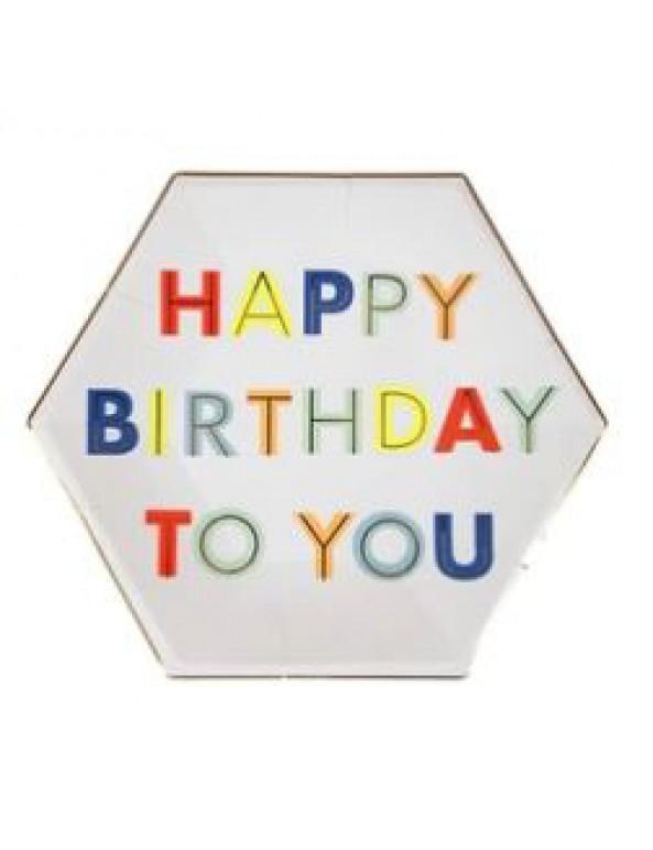 צלחות נייר גדולות Happy Birthday - Meri Meri, Meri Meri, צלחות, צלחות נייר, צלחות ליום הולדת, עיצוב שולחן יום הולדתף סידור שולחן יום הולדת, יום הולדת, צלחת, צלחות, צלחת נייר, צלחות נייר, יום הולדת, מסיבה, מסיבת יום הולדת