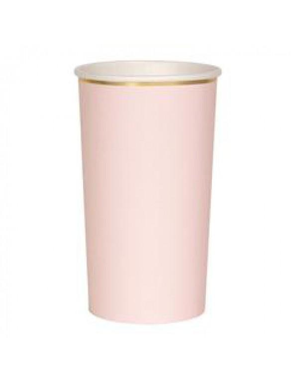 כוסות ורוד בהיר גבוהות עם עיטור זהב - Meri Meri