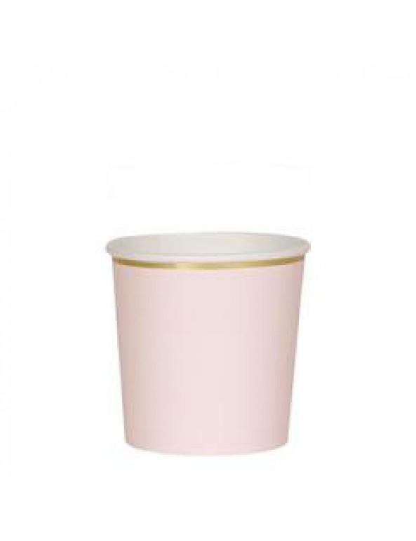 כוסות ורוד בהיר נמוכות עם עיטור זהב - Meri Meri