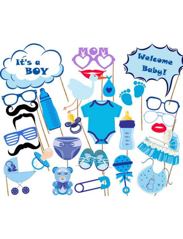 בייבי שאוור, baby shower, לידת בן, תינוק, מסיבת ברית, ברית, קישוטים לברית, - It's a boy !, תכלת, צילום, אביזרים לצילום, סלפי