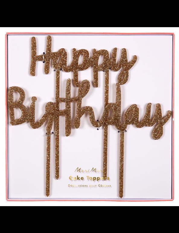 קייק טופר זהב קשיח Happy Birthday - Meri Meri