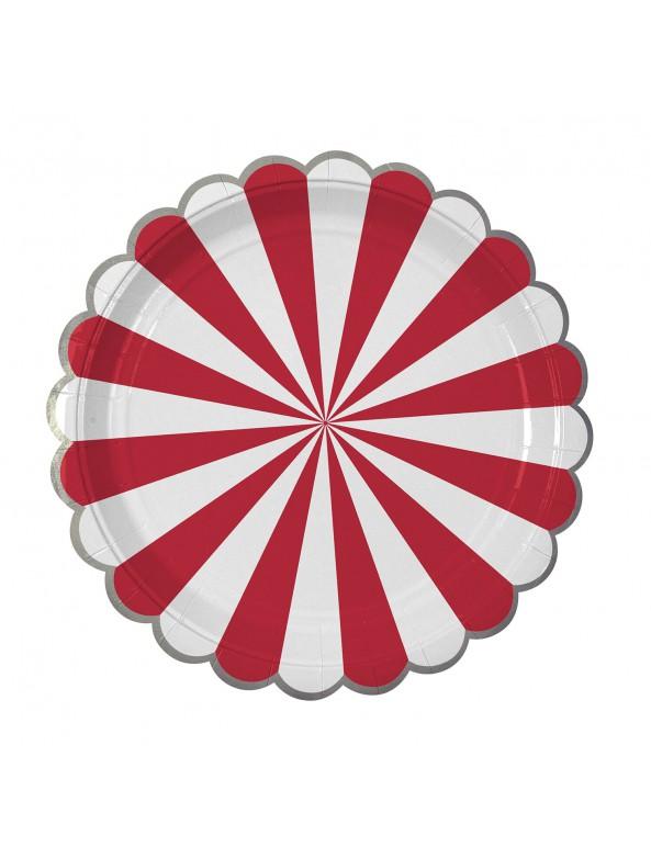 צלחות נייר גדולות אדום לבן - Meri Meri, Meri Meri, צלחות, אדום כסף לבן, אדום לבן, צלחות נייר, צלחת אדום לבן, צלחות אדום לבן, סידור שולחן, עיצוב שולחן