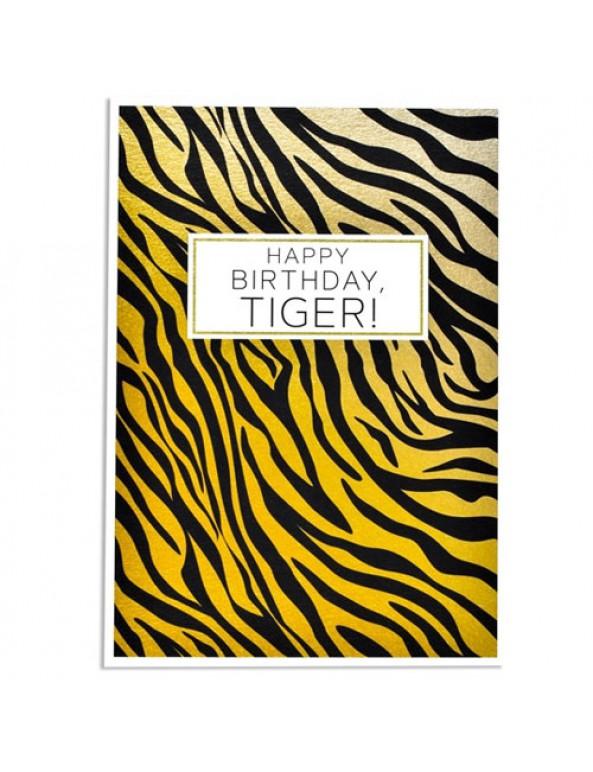 כרטיס ברכה יום הולדת - happy birthday tiger