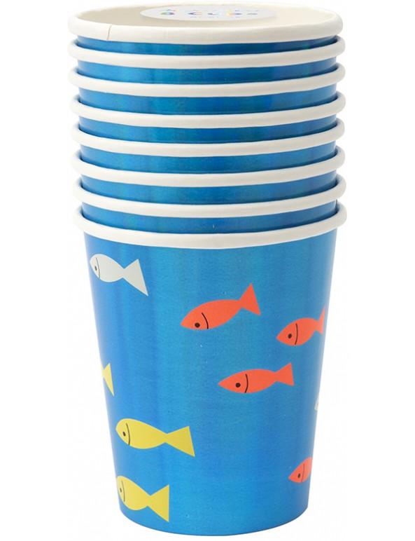 כוסות, מתחת לים, מתחת למים, מפית, מפיות, דג, דגים, מתחת למים, ים, Meri Meri, צלחות צדף מבריקות - Meri Meri, מתחת למים, Meri Meri, שרשרת, קישוט מסיבה מתחת למים, ים, דגים, כריש, מסיבת יום הולדת, עיצוב יום הולדת ים, מתחת למים, צדף, צדפים, כוסות מתחת למים - M