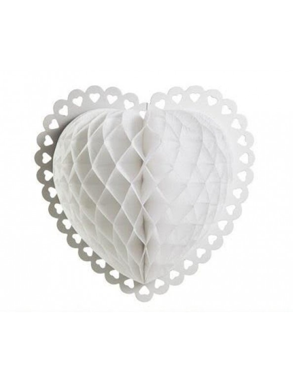 """כדור נייר לב מעוצב לבן, כדור לב, לב נייר, לב מנייר, ולנטיין, יום האהבה, ט""""ו באב, קישוט ליום האהבה, קישוטים ליום האהבה, קישוטים לולנטיין"""