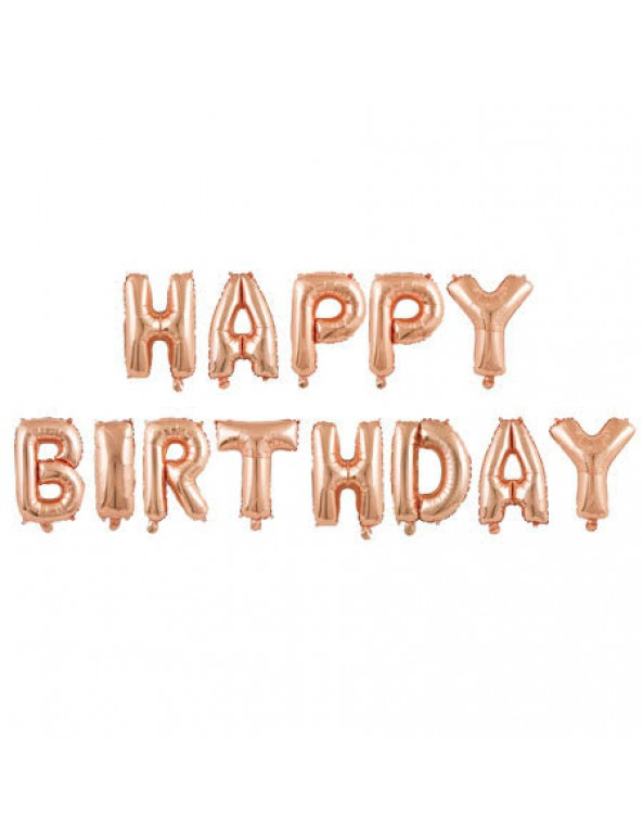 בלוני אותיות Happy Birthday רוז גולד