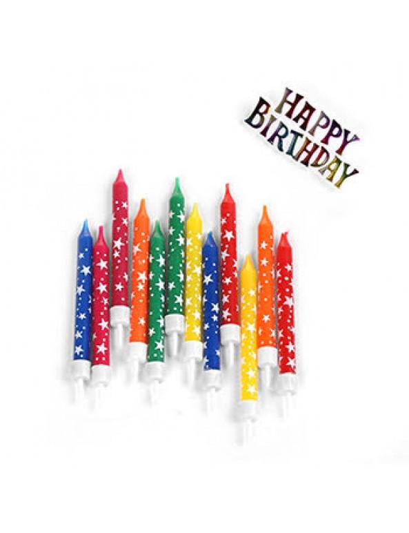 נרות צבעוניים עם שלט Happy birthday