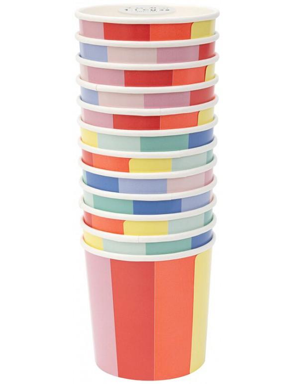 גלגל הצבעים, גלגל, צבע, צבעים, כוס, כוסות, Meri Meri, כוסות נייר נמוכות גלגל הצבעים - Meri Meri