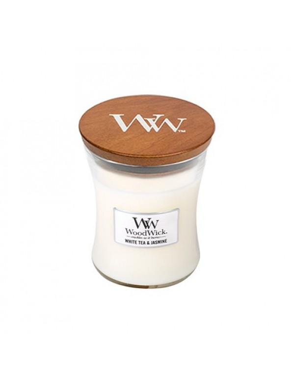 נר וודוויק שעון חול- ניחוח White Tea and Jasmine