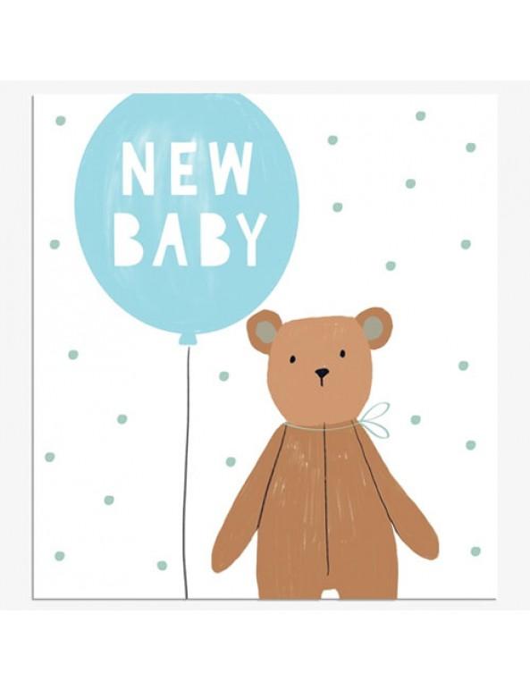 כרטיס ברכה להולדת תינוק - בלון כחול