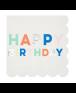 מפיות לבנות עם כיתוב happy birtday צבעוני - Meri Meri