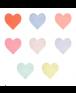 """מפיות לב בצבעי פסטל - Meri Meri,  אהבה, ט""""ו באב, יום האהבה, ולנטיין, Meri Meri ,ת מפיות, מפיות לב, מפית, מפית לב"""